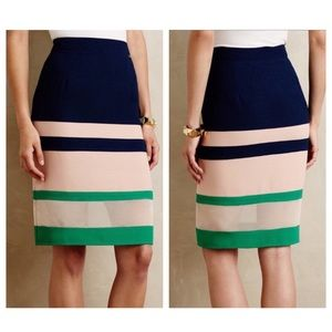 Anthro Harlyn Parfait Colorblock Pencil Skirt
